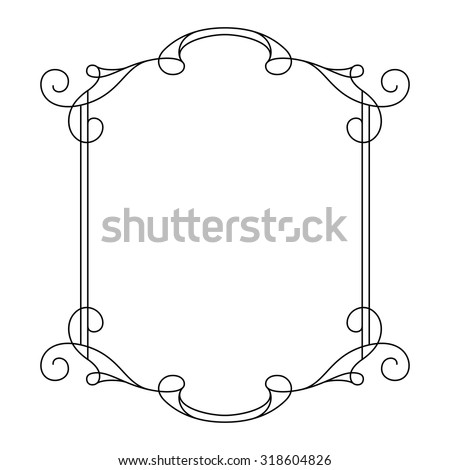 d95312f95f7a Vintage Calligraphic Frame Decorative Design Element In Retro Style Simple  Rectangle With Swirls