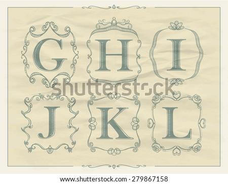 Vintage calligraphic letters in monogram retro frames, alphabet logos set - G, H, I, J, K, L - stock vector