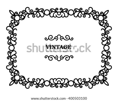 Vintage calligraphic rectangle frame swirly vector stock vector hd vintage calligraphic rectangle frame swirly vector rectangle frame silhouette decorative design element in retro stopboris Choice Image