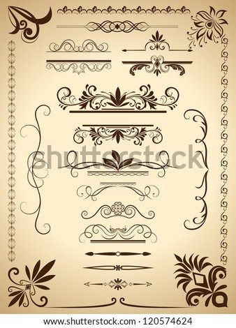 Vintage calligraphic vector design elements isolated on old paper background. - stock vector