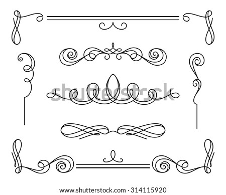 Vintage calligraphic vignettes and dividers, set of decorative design elements in retro style, simple swirls, vector scroll embellishment on white - stock vector