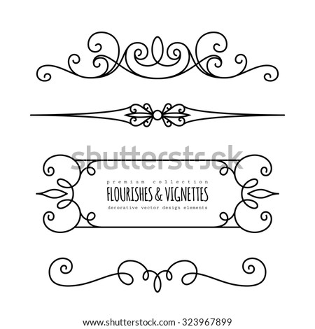 Vintage calligraphic vignettes dividers set decorative stock vector vintage calligraphic vignettes and dividers set of decorative design elements in retro style page stopboris Image collections