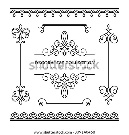 Vintage calligraphic vignettes, borders and dividers, set of decorative design elements in retro style, vector scroll embellishment on white - stock vector