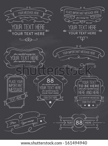 Vintage Calligraphy Chalk Board Elements Six - stock vector