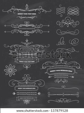 Vintage Calligraphy Chalkboard Design Elements - stock vector