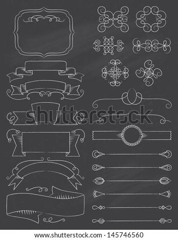 Vintage Calligraphy ChalkBoard Design Elements Five - stock vector