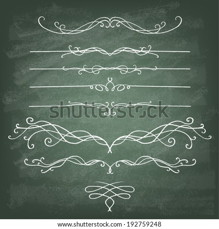 Vintage Calligraphy Chalkboard Design Elements. Set of decorative design elements and page decor. Classic curves and curly lines. - stock vector
