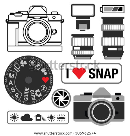 Vintage Camera and DSLR Vector - stock vector