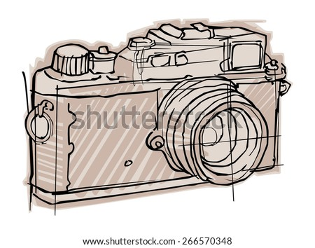 vintage camera hand drawn - stock vector
