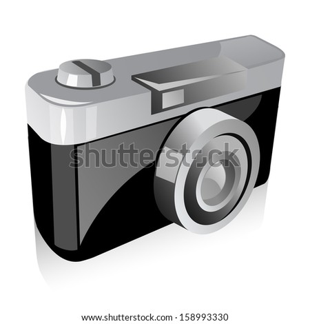 Vintage Camera Set isolate on white background. Vector illustration of detailed icon representing retro style camera. - stock vector