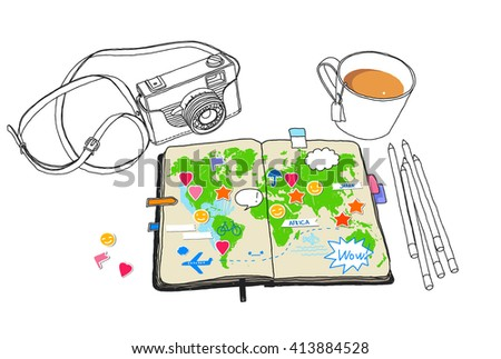 Vintage camera, travelbook the sketch map of the world. Taking notes and plan your trip. Travel, adventure experiences. Table top view. Vector hand-drawn sketch. Stickers are in separate layers. - stock vector