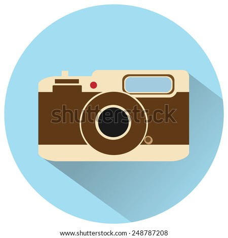 vintage camera vector icon - stock vector