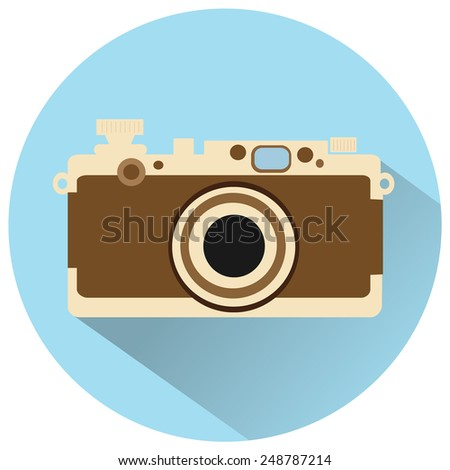 vintage camera vector icon - stock vector
