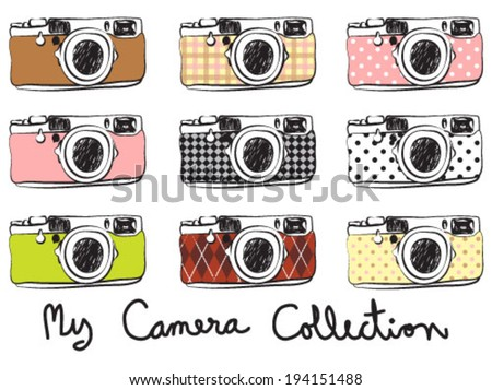 Vintage cameras collection - stock vector