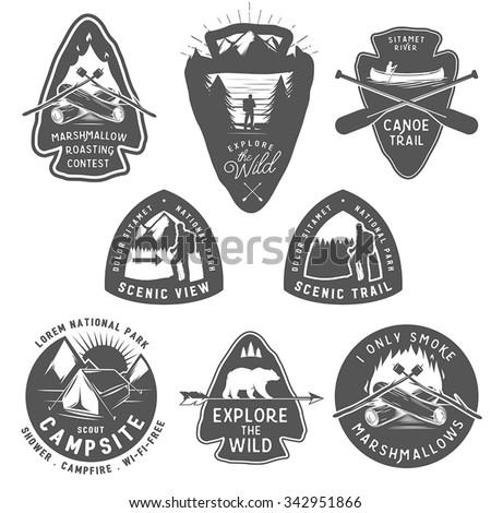 Vintage Camping And Hiking Labels Badges Design Elements
