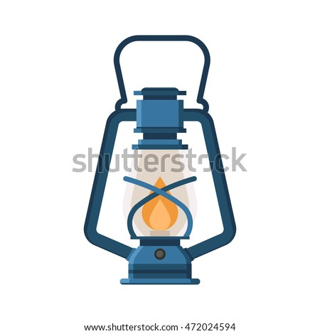 Vintage Camping Lantern Isolated On White Background Retro Gas Lamp With Glowing Fire Wick
