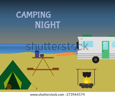 Vintage camping night concept. Retro caravan, motorhome, rv on the beach, summer vacation, and holiday. Flat design. Vector illustration - stock vector