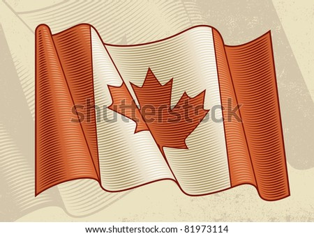 Vintage Canadian Flag. Vector - stock vector
