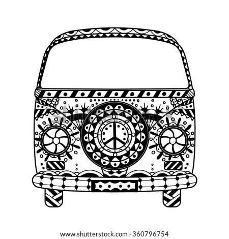 Vintage car a mini van in zentangle style. Hand drawn image. Monochrome vector illustration. The popular bus model in the environment of the followers of the hippie movement. - stock vector