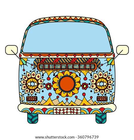 vintage car mini van zentangle style vector de