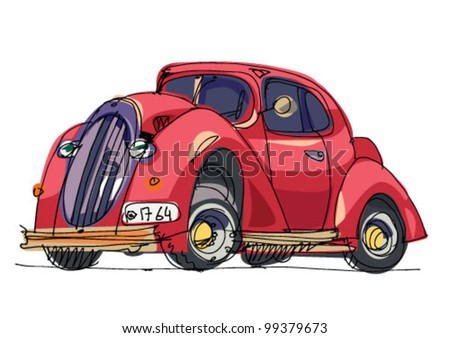 vintage car - cartoon