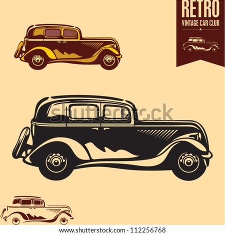 Vintage car. Classic car. - stock vector