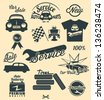 Vintage car labels and icons - stock vector