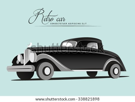 Vintage car. Retro car. Vector illustration of old car. Black auto.  - stock vector