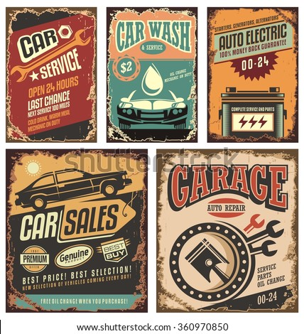 Vintage car service metal signs and posters vector. Cars ads and banners retro 20th century collection. Classic garage grunge metal signposts set. Old-fashioned road station and car service layouts.  - stock vector