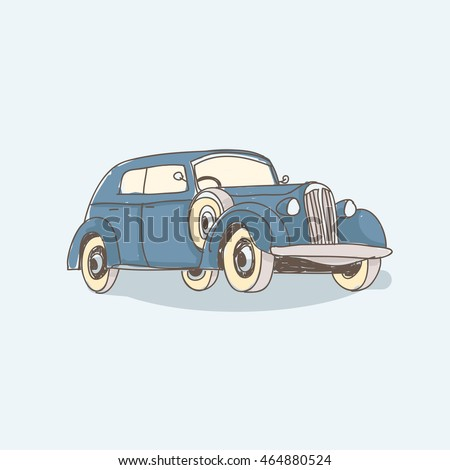 Vintage car vector illustration. Blue car isolated on the light background