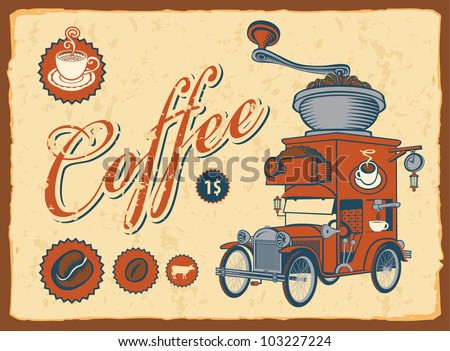 vintage car with coffee grinder on roof - stock vector