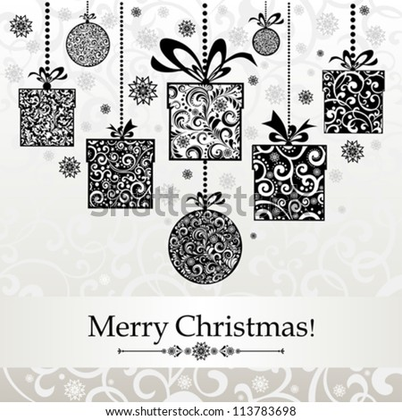 Vintage card. Celebration  background with Christmas balls, gift box and place for your text. vector illustration - stock vector