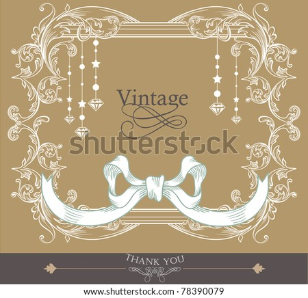vintage card design- best for wedding invitation-birthday and more - stock vector