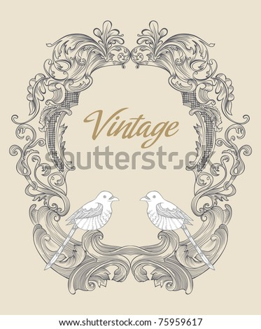 vintage card design with a bold frame with two little birds - stock vector