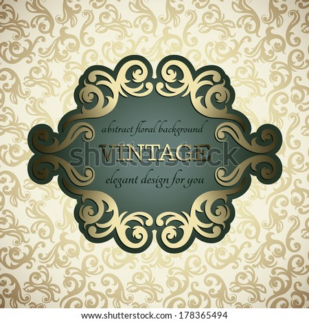 Vintage card, elegant border, golden floral background  - stock vector