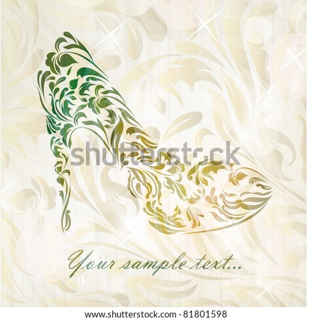 Vintage card of perfect shoes isolated on beautiful background with your text (vector version eps 10). Perfect for sign, symbol, icon, web, emblem, label, logos, logotype. - stock vector