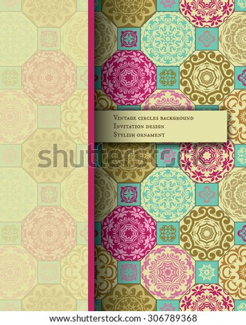 Vintage Card on seamless patchwork pattern from beige-turquoise -pink style Moroccan tiles, ornaments.