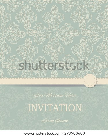 Vintage card or wedding invitation and announcement with elegant floral background. Vector Illustration