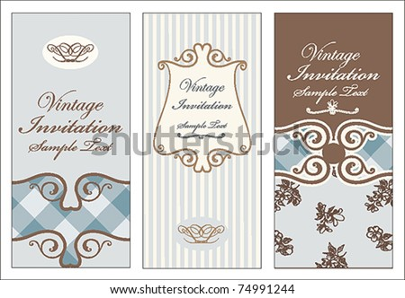 Vintage card set - stock vector