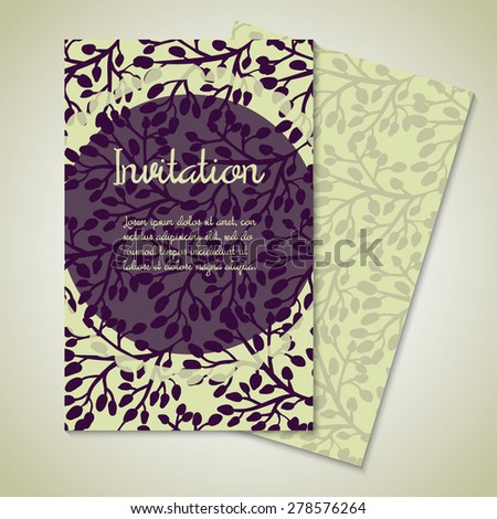 Vintage card templates for wedding invitation, thank you card, save the date cards, mothers day, valentines day, birthday cards, invitations with purple leaf and circle Vector illustration eps 10 - stock vector