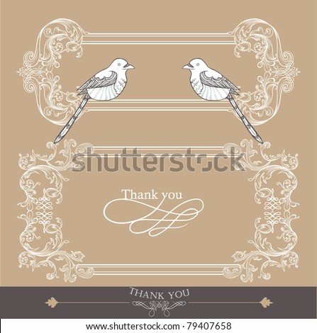 vintage card- wedding card- love bird - stock vector
