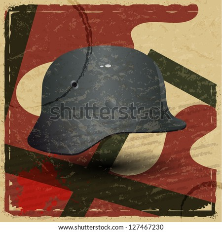 Vintage card with a picture of the fascist military helmet - stock vector