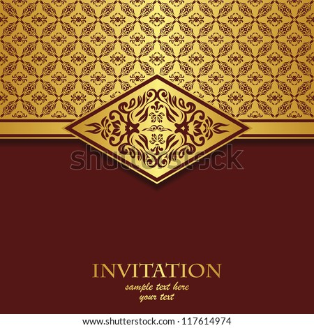 Vintage card with a seamless pattern. It can be used as an invitation - stock vector