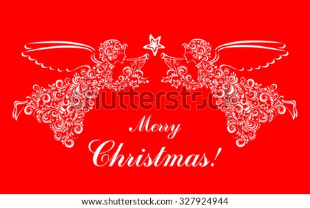 Vintage card with Angels and Christmas star isolated on red background. Vector illustration - stock vector