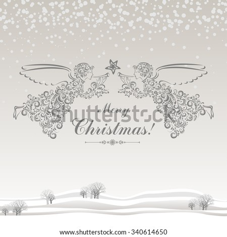 Vintage card with Angels, Christmas star and Beautiful winter landscape. Vector illustration - stock vector