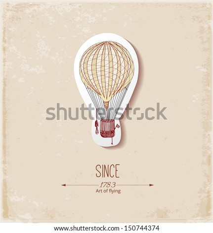 Vintage card with balloon. Vector illustration. - stock vector