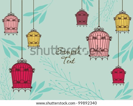 vintage card with birdcages in retro style - stock vector