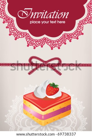 Vintage card with cake - stock vector