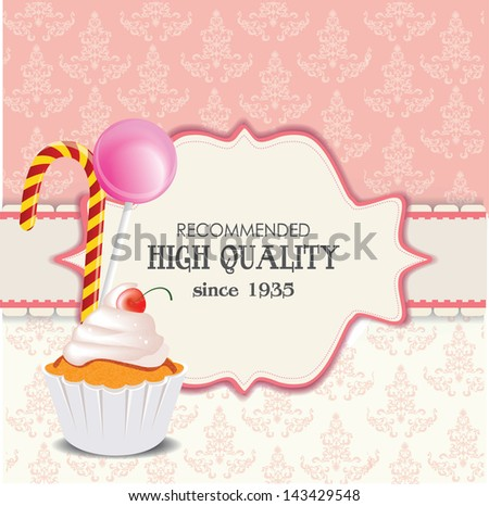 vintage card with candy - stock vector