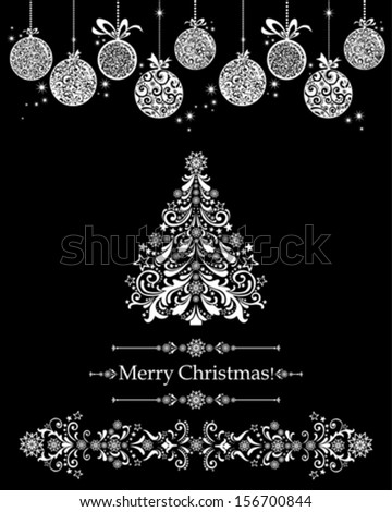Vintage card with Christmas balls and Christmas tree. vector illustration  - stock vector